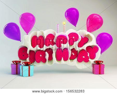 Birthday greeting card with happy birthday text in a milk splash. 3D illustration