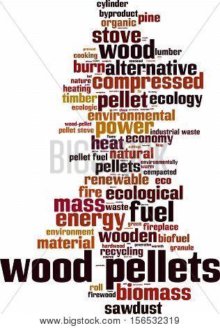 Wood pellets word cloud concept. Vector illustration