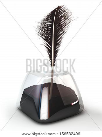 Feather pen in the ink pot. Isolated on white. 3d illustration