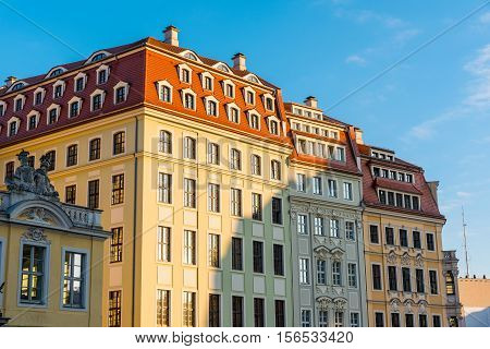 Restored buildings in Dresden in the warm evening sunshine