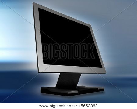 Flat Panel Monitor on Abstract Blue Background