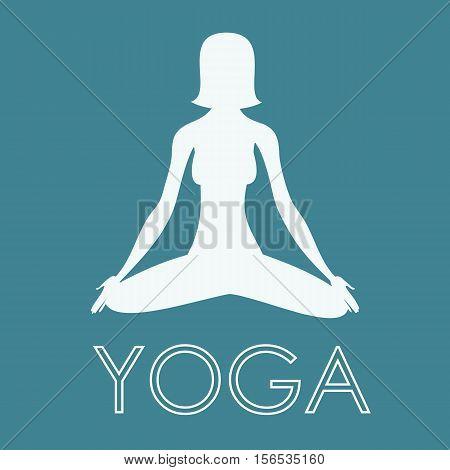 Yoga Exercise - Woman Yoga Meditating - Yoga Position Vector Illustration Background Logo Stock