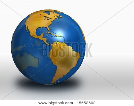 Blue And Gold Earth - Western Hemisphere