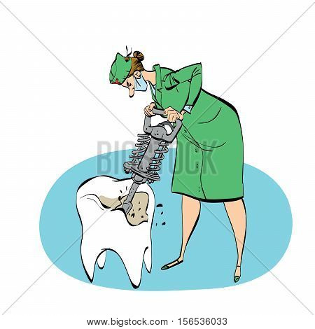 The dentist drills a tooth humorous illustration, color vector comic. A woman with a jackhammer drill of the tooth
