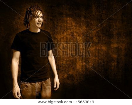 Rocker on grunge background