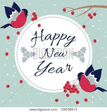 New Year Bullfinch and New Year Rowan Tree Branch NewYear Wish Postcard with Bullfinches, Rowan Branches and Round Frame Edging Dotted Line.Happy New Year Wish Postcard with New Year Bird Snowflakes