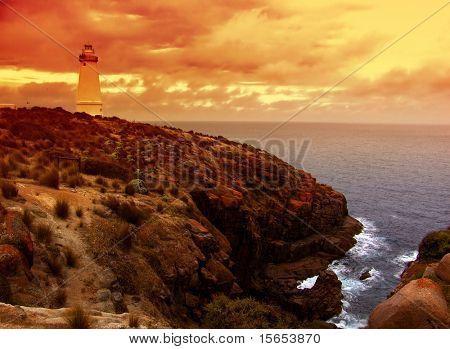 Lighthouse on rugged coast