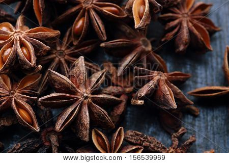Star Anise Fruits And Seeds On The Wooden Background
