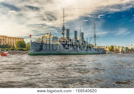 Russian Cruiser Aurora, Currently A Museum Ship, St. Petersburg, Russia