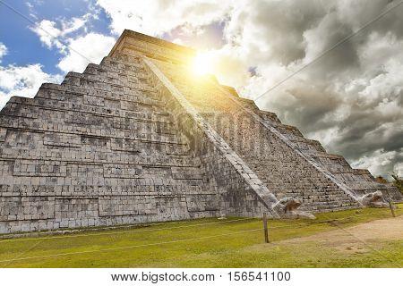 Kukulkan Pyramid in Chichen Itza on the Yucatan Mexico
