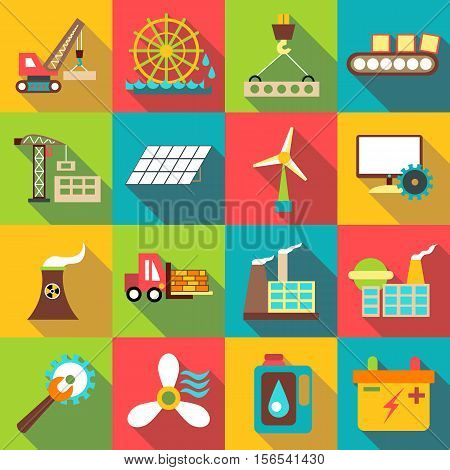 Industrial icons set. Flat illustration of 16 industrial vector icons for web