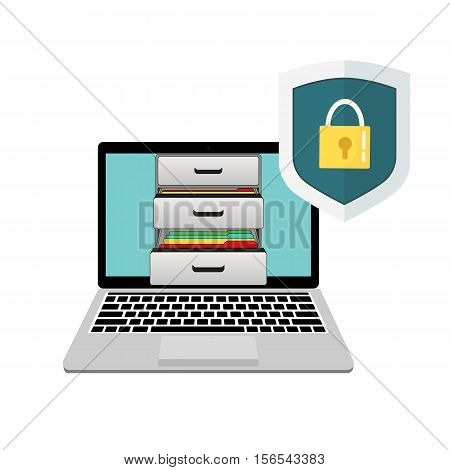 Laptop with boxes of documents and shield protection. Shield and closed lock.
