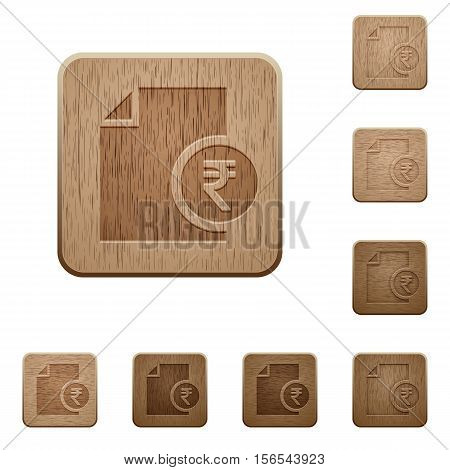 Indian Rupee report icons in carved wooden button styles