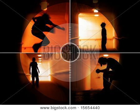 Coloured silhouettes of a troubled teenager in the crosshair