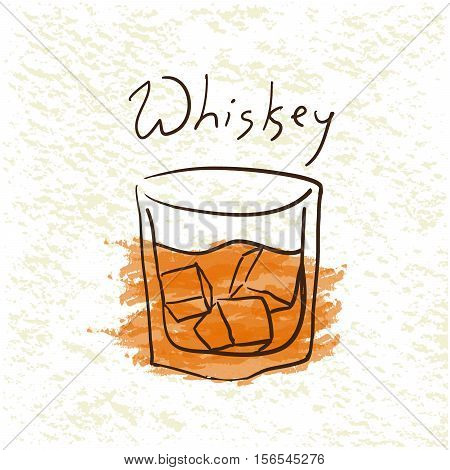 Glass of whiskey with ice pictured by watercolor on paper background. Hand drawn vector illustration