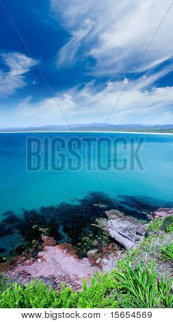 Beautiful beach view from a clifftop