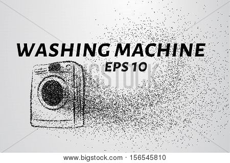 Washing machine made up of particles. Washing machine consists of small circles and dots. Vector illustration