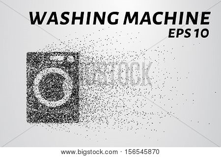 Washing machine made up of particles. Washing machine crumbles to the point.