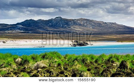 A rugged mountain range in the Falkland Islands