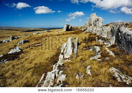 Rocky mountain top in the Falkland Islands