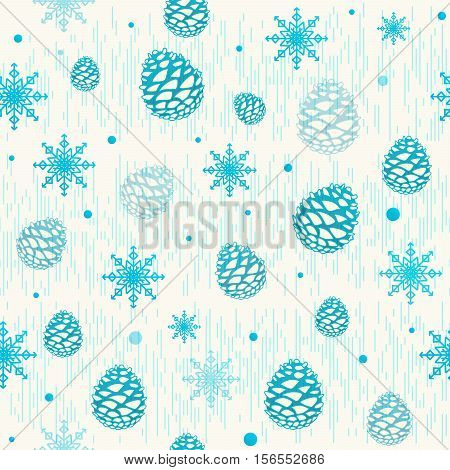 Vector illustration of christmas seamless pattern with pinecone, snowflake and retro striped texture. Old magic winter background in vintage style