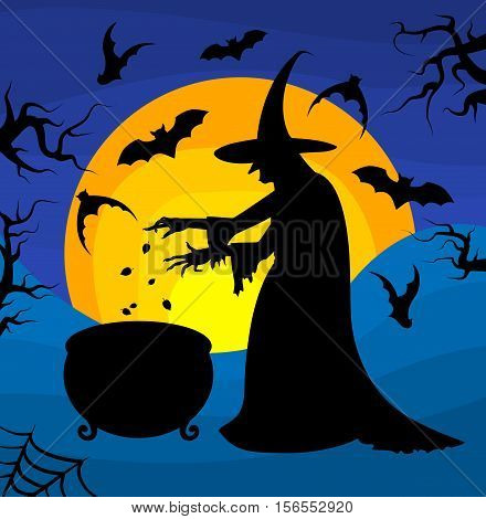 Old scary witch cooks a potion in a cauldron on sunset background. Halloween poster. Cartoon Halloween character.