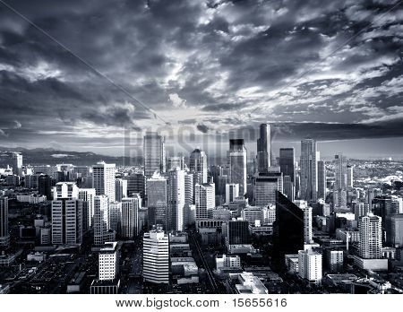 Black and White Seattle Cityscape