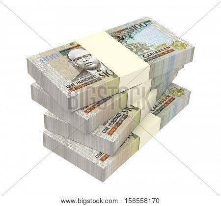 East Caribbean dollar bills isolated on white background. 3D illustration.