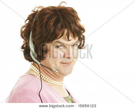 Humorous photo of a transvestite phone sex worker or customer service person.  Isolated on white.