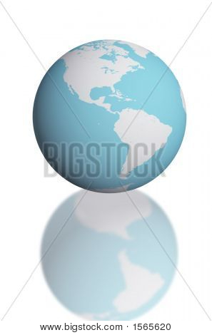 3D Render Globe Map For Science And