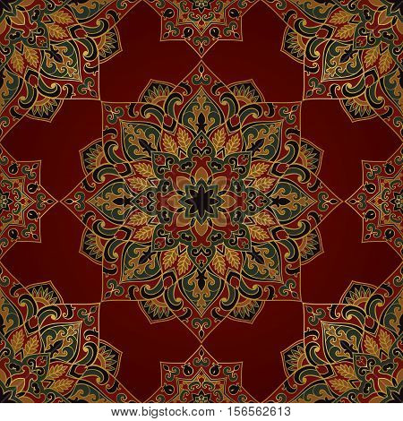 Seamless pattern of symbolic mandala on a red background. Colorful oriental ornament. Template for carpet shawl wallpaper embroidery textile.