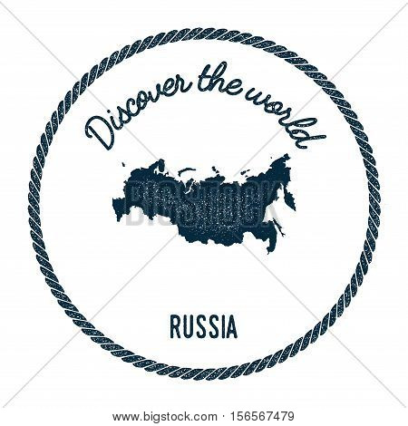 Vintage Discover The World Rubber Stamp With Russian Federation Map. Hipster Style Nautical Postage