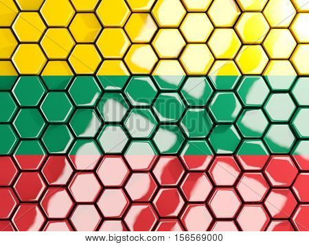 Flag Of Lithuania, Hexagon Mosaic Background