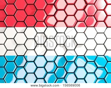 Flag Of Luxembourg, Hexagon Mosaic Background