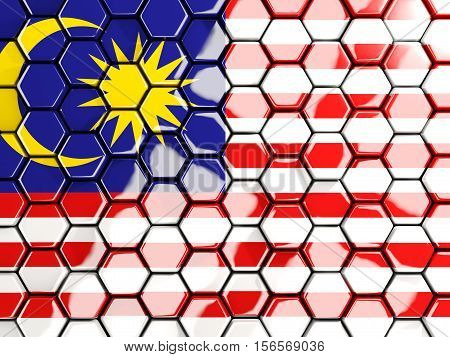 Flag Of Malaysia, Hexagon Mosaic Background