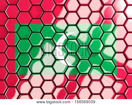 Flag Of Maldives, Hexagon Mosaic Background