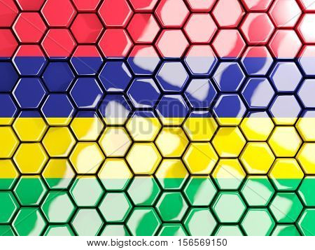 Flag Of Mauritius, Hexagon Mosaic Background