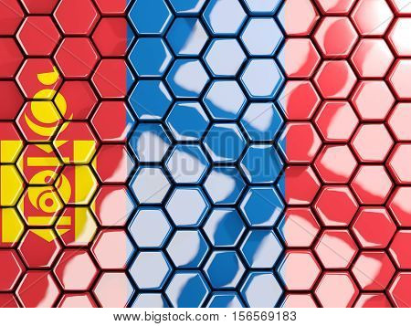 Flag Of Mongolia, Hexagon Mosaic Background