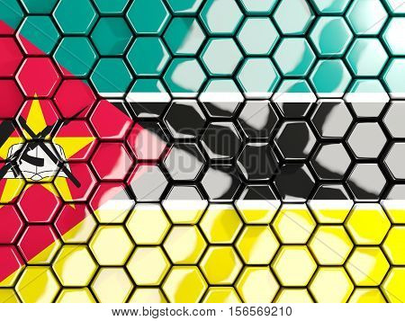 Flag Of Mozambique, Hexagon Mosaic Background