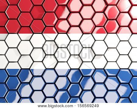 Flag Of Netherlands, Hexagon Mosaic Background