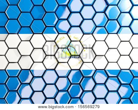 Flag Of Nicaragua, Hexagon Mosaic Background