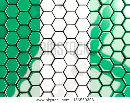Flag Of Nigeria, Hexagon Mosaic Background