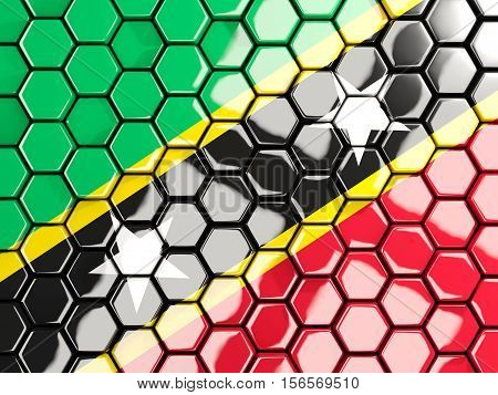 Flag Of Saint Kitts And Nevis, Hexagon Mosaic Background