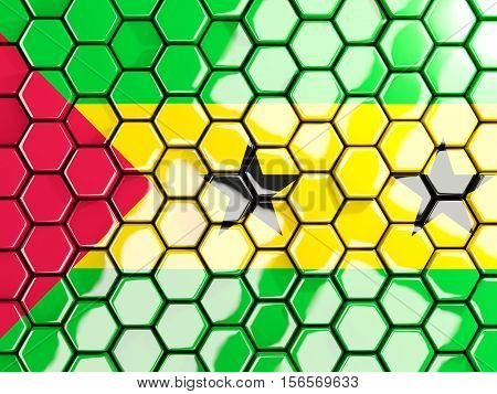 Flag Of Sao Tome And Principe, Hexagon Mosaic Background