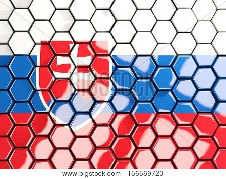 Flag Of Slovakia, Hexagon Mosaic Background