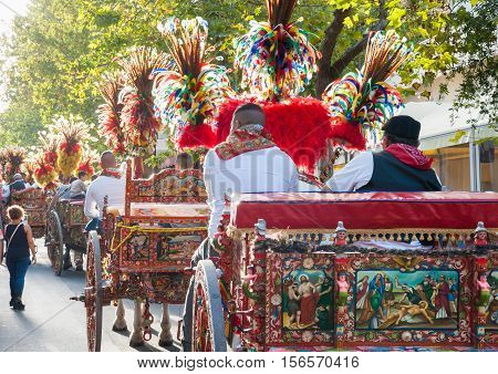 A typical colored sicilian cart during a folkloristic show