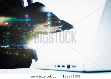 Double Exposure Of Business Woman Recheck Document Or Planing Data About Accounting Staff Recheck Da