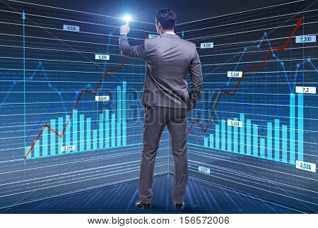 Businessman trader pressing virtual buttons