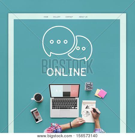 Online Communication Speech Bubble Icon Concept