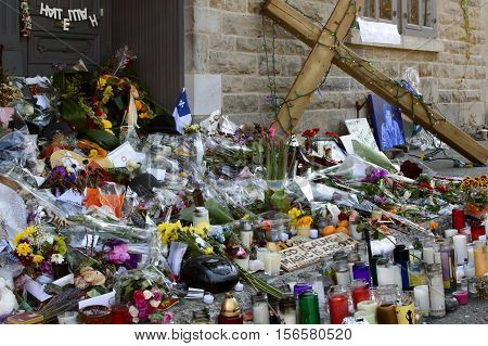 Montreal Canada - November 14 2016: Pilgrimage to the Montreal home of Leonard Cohen iconic Montreal Artist Singer Songwriter Poet and Writer continues one week after his passing as mourners continue to pay tribute.